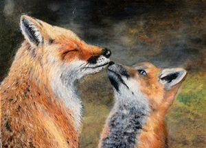 Fox mom and cub