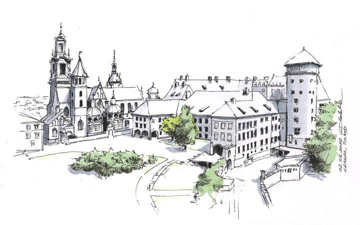 Poland, Cracow downtown - Drawings From Travel