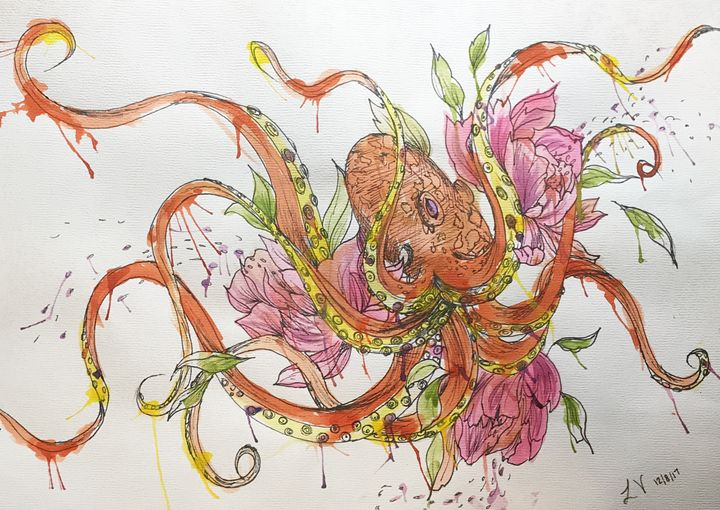 Water colored octopus - Lauryn's Art