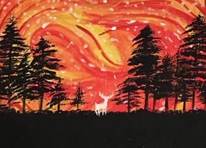 A Red Sky And Black Forest
