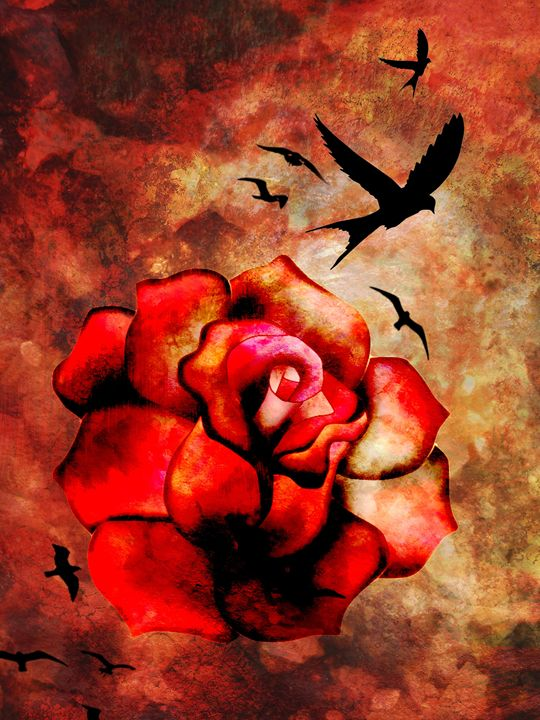 Rosey Inferno - Lisa G's Digital Art