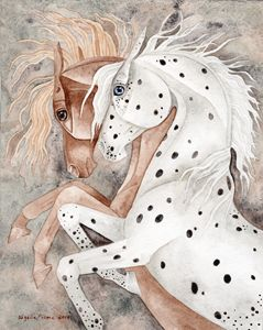 Rearing Chestnut And Appaloosa - Suzy Joyner
