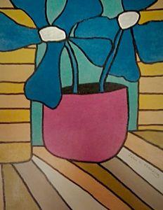 Nouveau Fauvist:  Blue Flowers