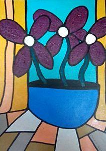 Art Nouveau Flowers & Pot
