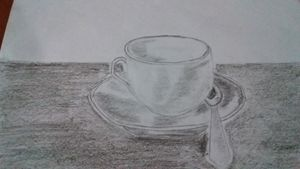 Old cup on a table
