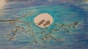 Birds at night scene - Scenery Arts