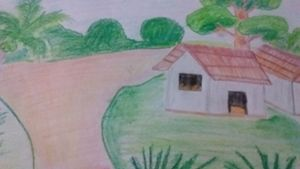 Village drawing for kids