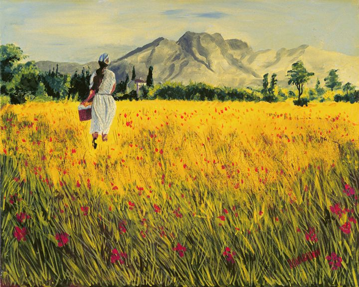 Red Flowers and Yellow Field - Richard L. Garabedian