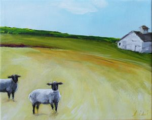 Sheep and a barn