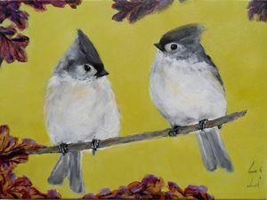 A pair of titmouse birds - LiLiArtStudio