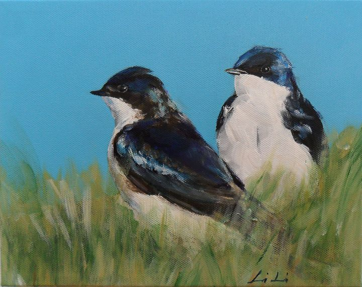 A pair of swallows - LiLiArtStudio