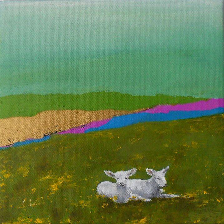 Sheep in the field - LiLiArtStudio