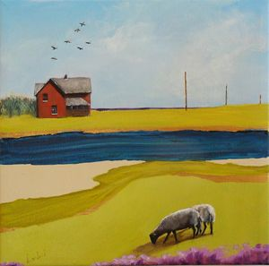 Sheep and a red house