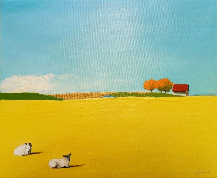 Sheep and a house - LiLiArtStudio