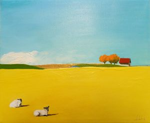 Sheep and a house