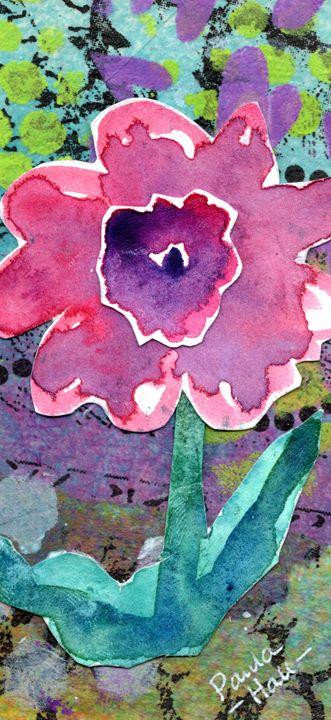 Purple Flower Mixed Media - Art by Paula Hall