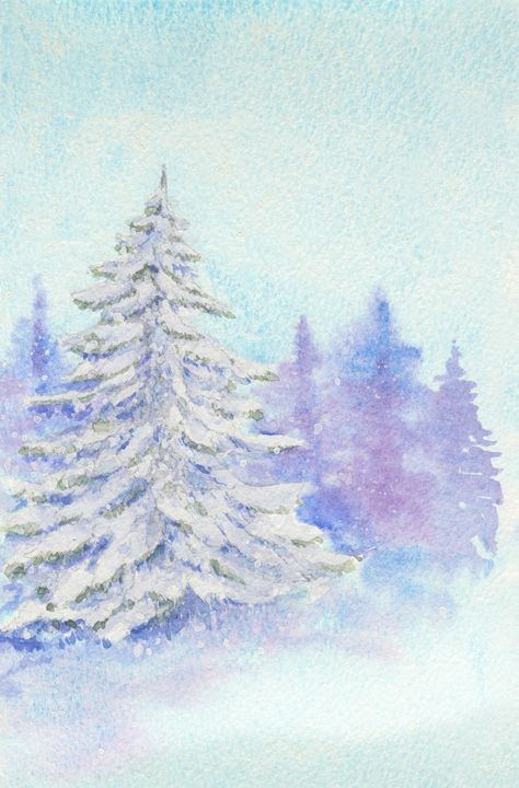 Evening in The Winter Forest - EwaPix Paintings