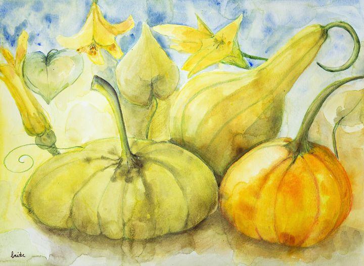 Pumpkin, squash and flowers. - BRISTE