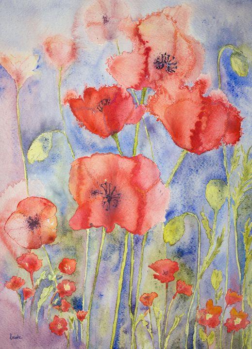 Poppies in cheerful bright colours. - BRISTE