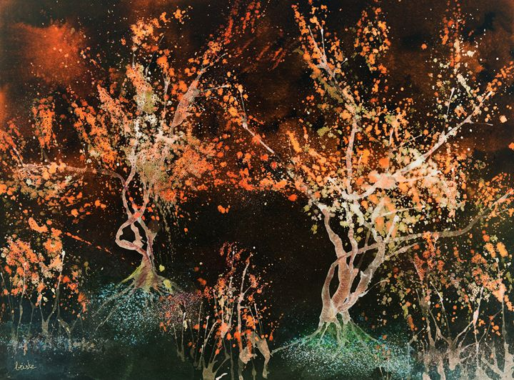 Impression of red glowing trees agai - BRISTE