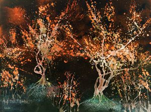 Impression of red glowing trees agai