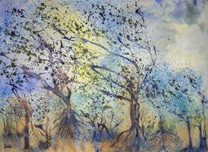 Impression of a forest in stormy wea