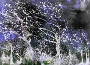 Glowing trees in a nightly storm.