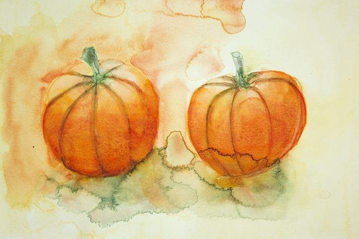 two pumpkins with yellow and orange - BRISTE