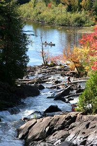 Algonquin Park, On, falls, canoeist
