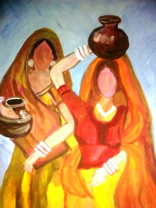 Folk -with bucket of water - Prakash 1 fine art / painting gallery