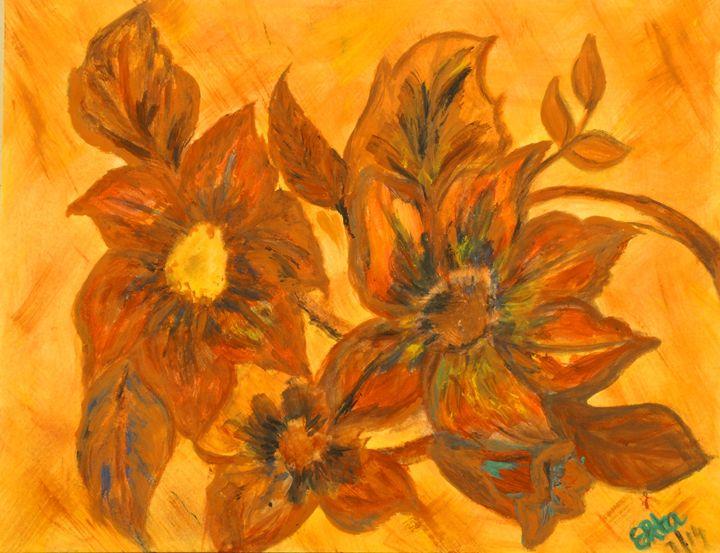 FLOWER IN BROWN 5 - Prakash 1 fine art / painting gallery