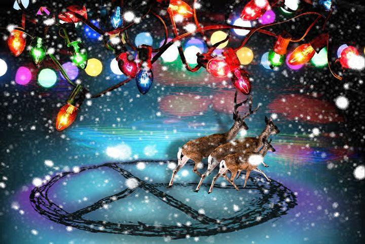 Deer Christmas Peace - LooseGoose Art