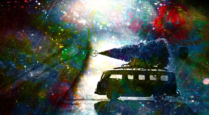 Christmas On The Peace Bus - LooseGoose Art