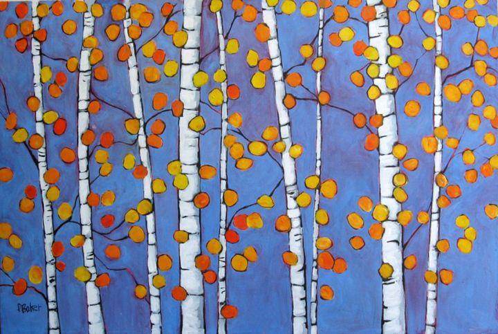 Abstract Autumn Aspens - Patty Baker