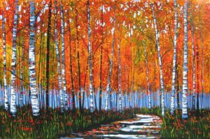 Autumn Path with Birches