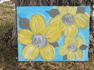 Yellow Flowers on Turquoise