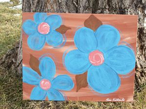 Turquoise Flowers on Clay
