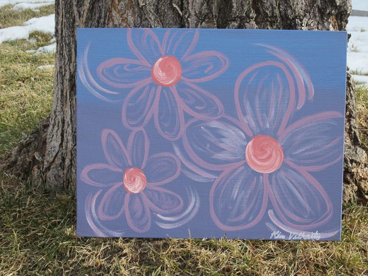 Pink Flowers on Metallic Blue/Purple - Colorful Quotes on Canvas