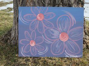 Pink Flowers on Metallic Blue/Purple