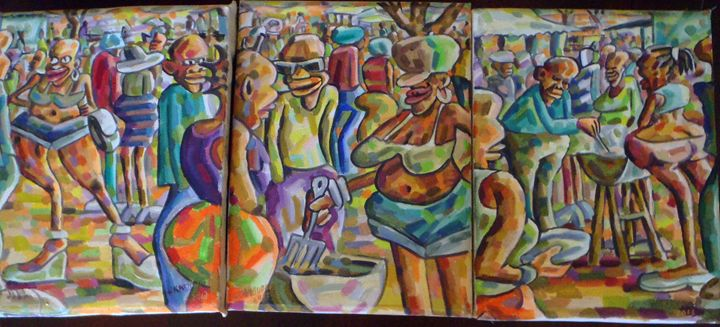 3-piece bbq party 92 x 40 cm total - Modern African