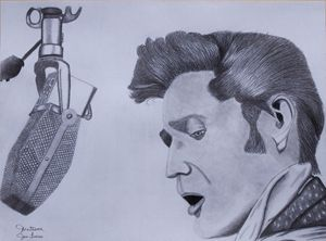 Elvis Graphite Drawing