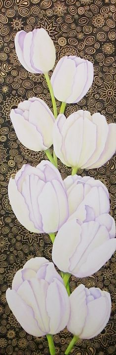 White Tulip Bling - Southwest & Florals by Carol