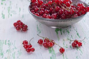 Ripe red currants in a metal plate