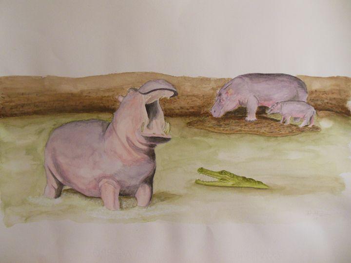 Hippopotamus in the river with croc - Rubén Moreno Iniesto