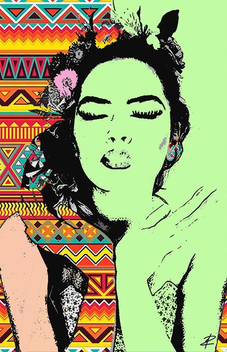 Aztec Love Beauty Green by Jesse Rau - Jesse Raudales