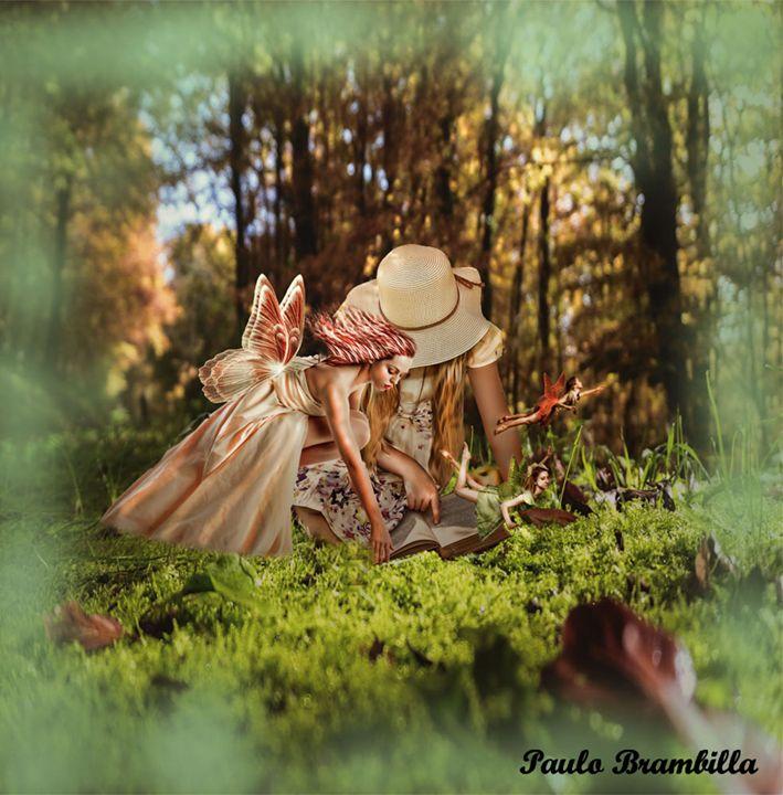 A garotinha lendo com as fadas - Paulo Brambilla