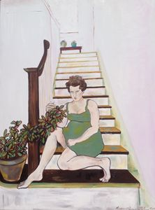 Woman with Plant on Stairs