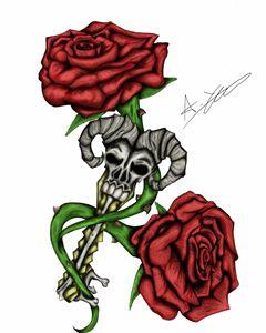 skeleton key and roses