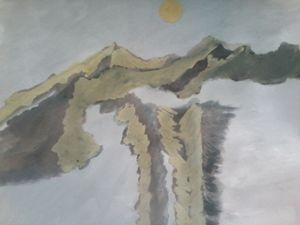 Himalayan summit on a moonlight nigh