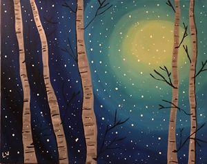 Winter Birch Snow Stars